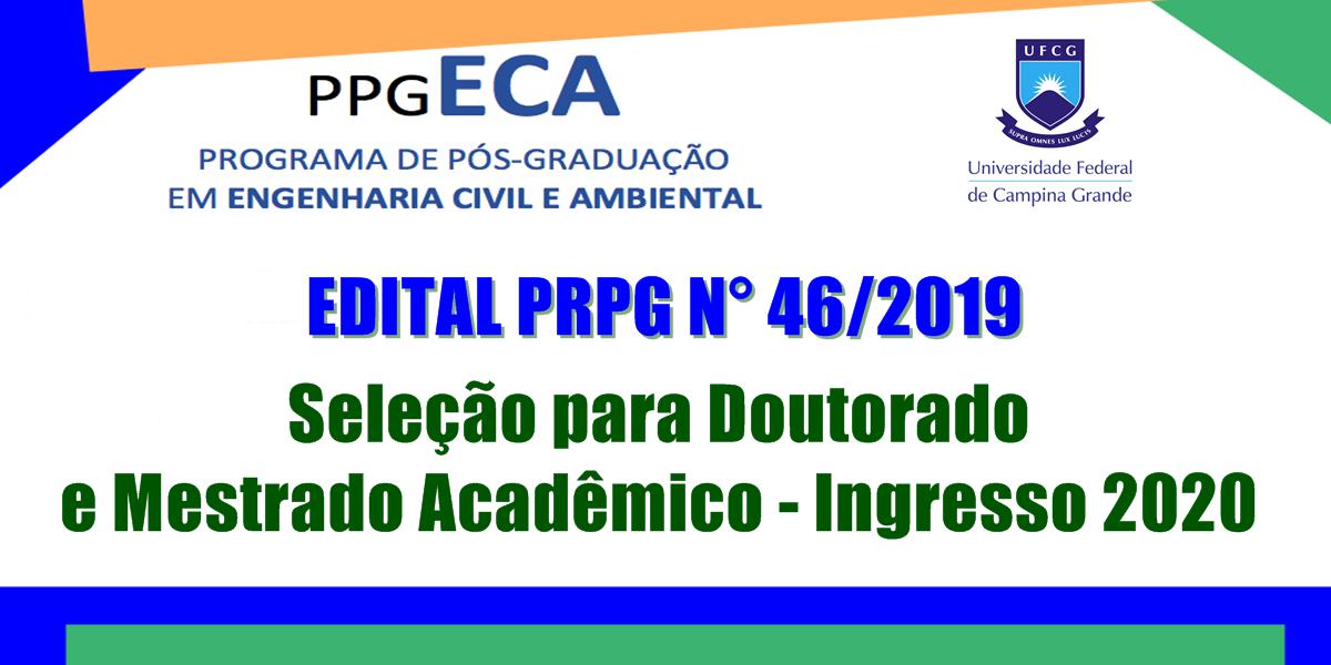 Edital de seleção para ingresso em 2020 no Doutorado e Mestrado do PPGECA é publicado