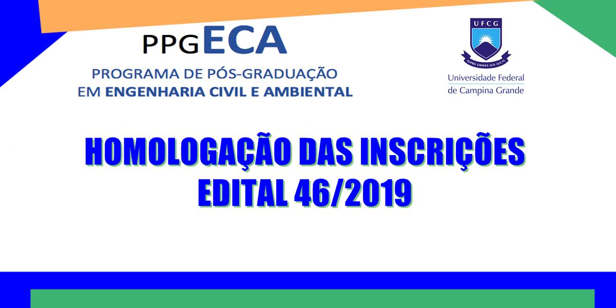 Homologações de Inscrições - Processo Seletivo do PPGECA 2020